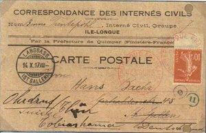 Postkarte eines Zivilinternierten aus Frankreich